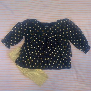 Healthtex Black And Gold Polka Dot Ruffle Set